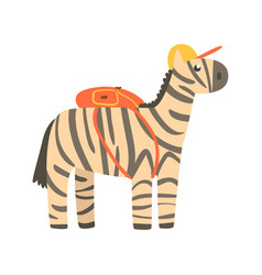 cute cartoon zebra in yellow can and with backpack vector image
