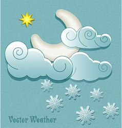 Moon in the clouds with stars and snowflakes vector image