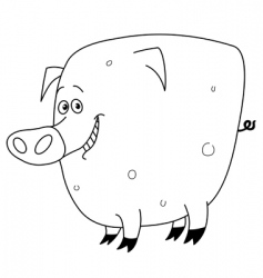 outlined pig vector image