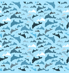 seamless dolphin pattern vector image vector image
