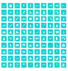100 children icons set grunge blue vector