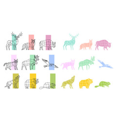 Animals polygonal linear set vector