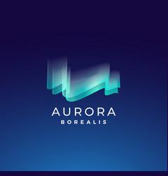 Aurora borealis abstract sign emblem or vector