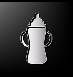 baby bottle sign gray 3d printed icon on vector image