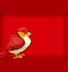 background template with plain color and red bird vector image