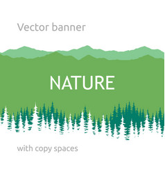 Banner with green background and forest silhouette vector