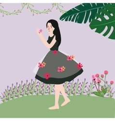 Beautiful cute woman wearing dress with flowers vector