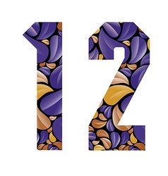 Beautiful floral numbers 1 and 2 vector image