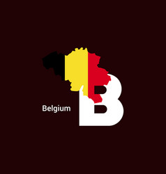 belgium initial letter country with map and flag vector image