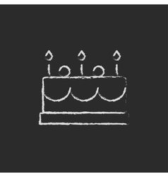 Birthday cake with candles icon drawn in chalk vector image