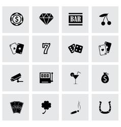 black casino icons set vector image