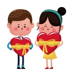 boy and girl with big heart with ribbon vector image
