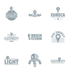 Brilliant thought logo set simple style vector