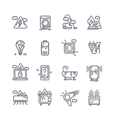 broken appliances black thin line icon set vector image