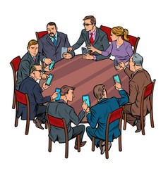 businessmen meeting man and woman smartphones vector image