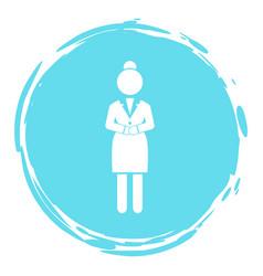 Businesswoman turquoise circle portrait stamp vector
