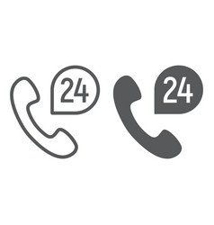 call 24 line and glyph icon support and all day vector image