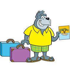 cartoon gorilla wearing shorts with suitcases vector image