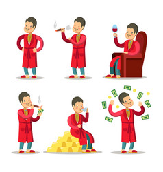 cartoon rich man with money and cigar vector image