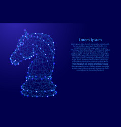 Chess horse from futuristic polygonal blue lines vector
