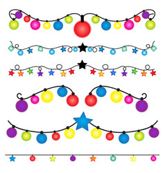 Christmas string lights set on white background vector