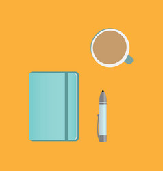 Clipboard pencil and coffee on the table vector