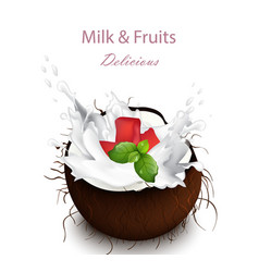 Coconut milk splash delicious natural vector