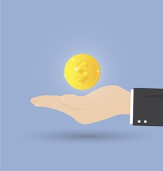 coin on open hand vector image vector image