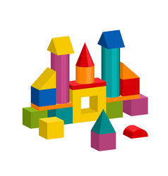 Colorful blocks toy building tower castle house vector