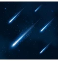 Comet shower in starry sky abstract vector