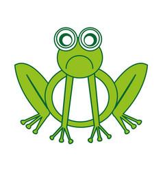 Comic sad frog character icon vector