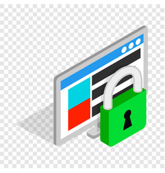 Computer monitor and padlock isometric icon vector