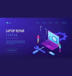 Computer service concept isometric 3d landing page vector