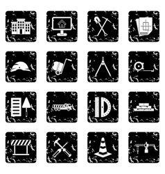 Construction set icons grunge style vector image