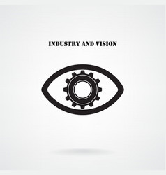 Creative gear with eye silhouette symbol vector image