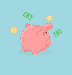 Cute cartoon of a pink pig piggy bank vector