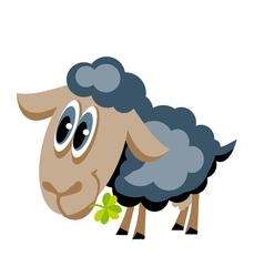 Cute gray sheep with lucky clover cartoon vector