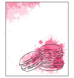 Delicate card with contour drawing of macaroon vector