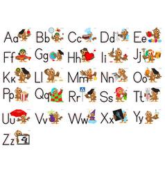 English alphabet abc letter set owl teacher learn vector
