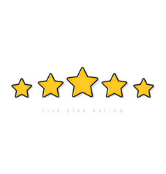 five yellow rating star in vector image