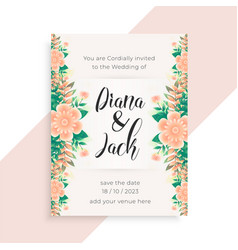 flower concept wedding invitation card design vector image