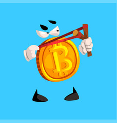 Funny bitcoin character with slingshot crypto vector