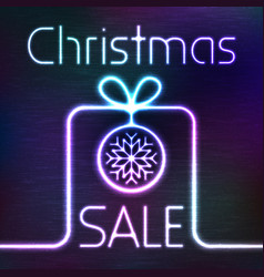 glowing gift box and christmas sale words vector image