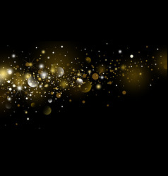 gold glitter and snow falling with bokeh vector image