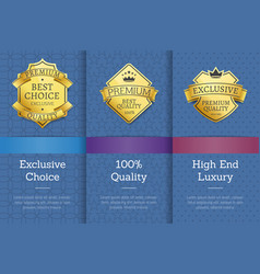 gold labels with crown that guarantee best quality vector image