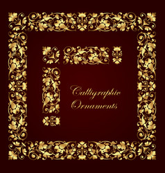 gold ornate calligraphic corner border and frame vector image
