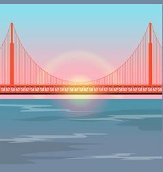 golden gate bridge against setting sun vector image