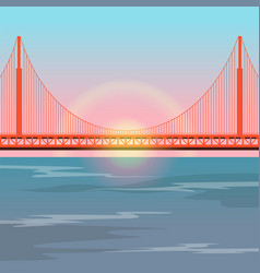 Golden gate bridge against the setting sun vector