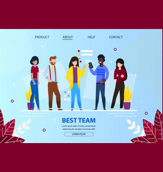 group young office employees best team meeting vector image