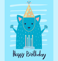 Happy birthday festive congratulation postcard vector